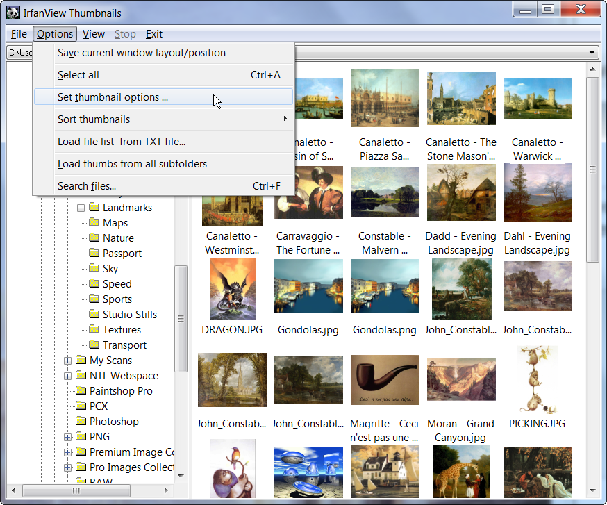 Requested Sidebar showing folder's thumbnails