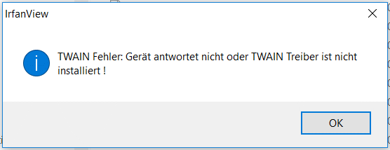 Reported Irfanview 4 50 is unable to find TWAIN source